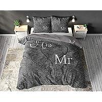 SleepTime Parure de lit en coton motif Mr. and Mrs. 3 pièces