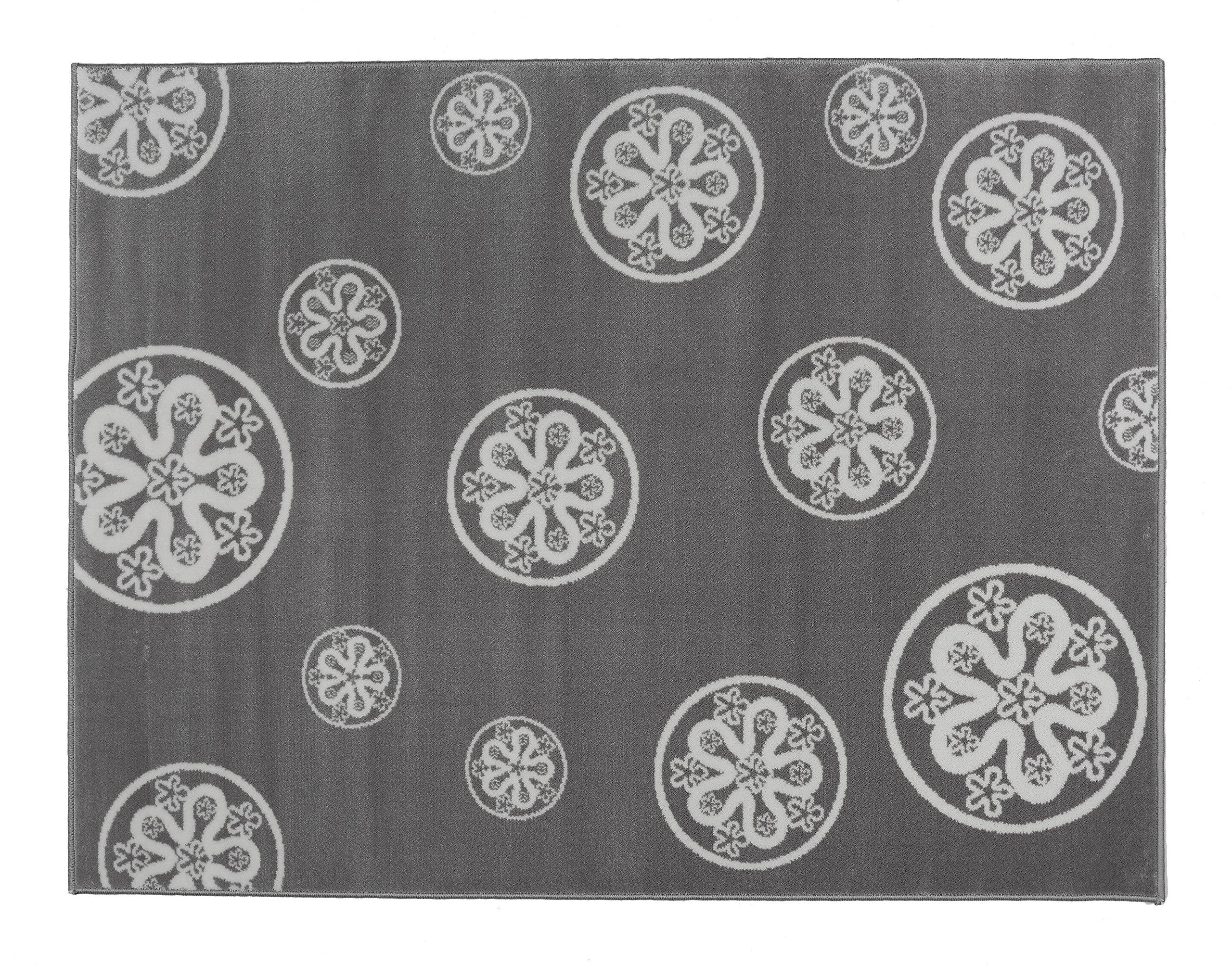 Aratextil. Bambini Tappeto 100% Acrilico. Coleccion Flores Gris 140x200 cms