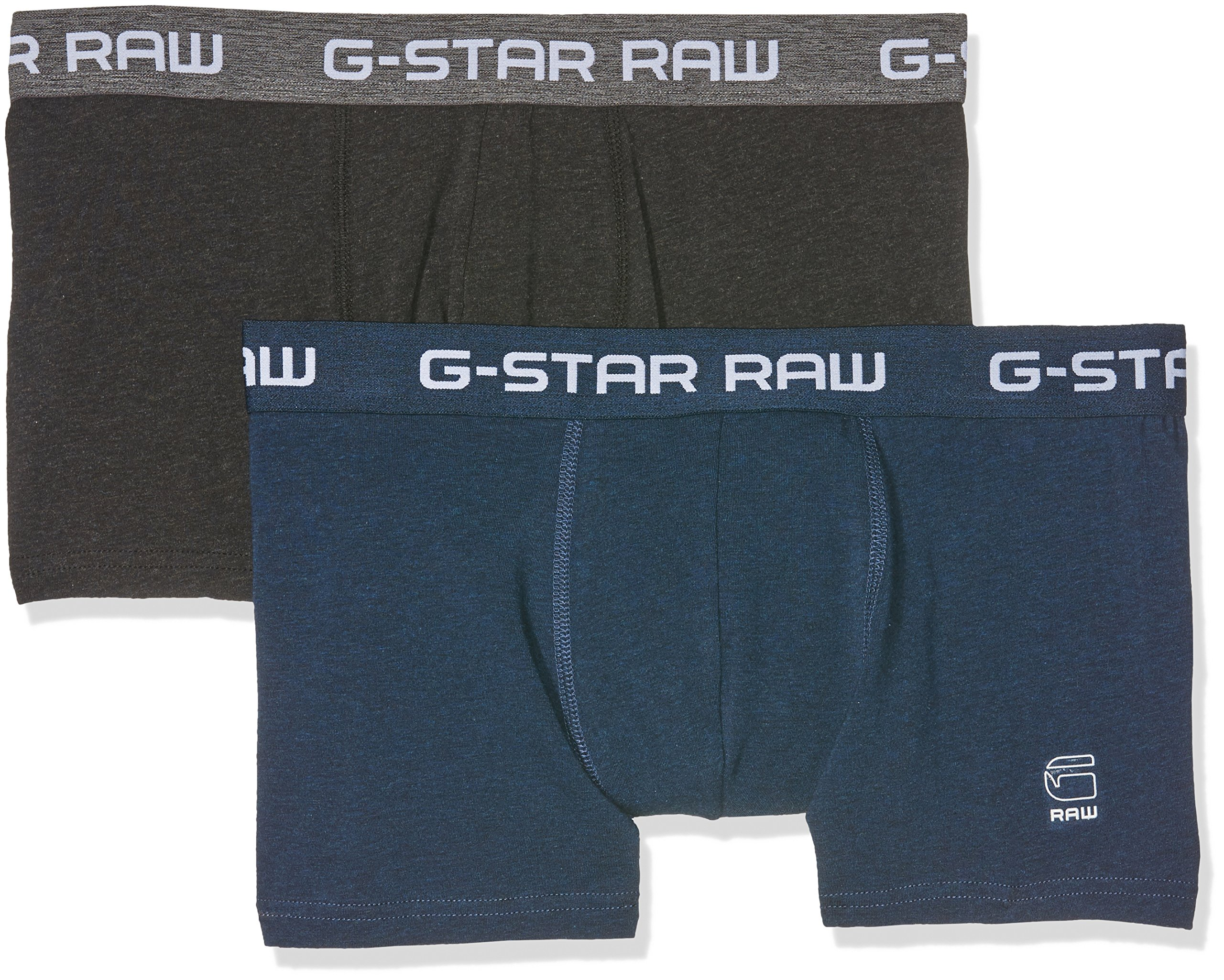G-STAR RAW Classic Trunk 2 Pack, Boxer Uomo, Nero (Black Htr/Mazarine Blue H), XX-Large (pacco da 2