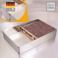 4smile Cadre pâtisserie – Made in Germany Cadre à pâtisserie rectangulaire, réglable, à Fixation par Pinces – Moule…