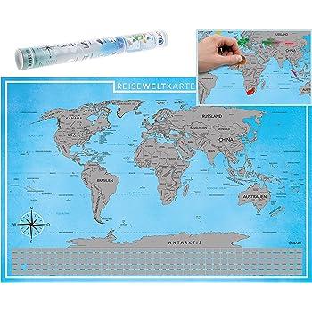 Blupalu Weltkarte World Map Poster Für Pins Groß Xxl Inkl