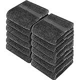 Utopia Towels - Juego de Toallas para la Cara - 700GSM Lavable en la Lavadora - (Paquete de 12, 30 x 30 cm, Gris) - Extra Sua
