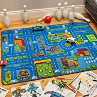 The Rug House Children's Kids Boys Girls City Town Car Roads Interactive Playroom Playmat Creative Toddler Soft Durable…