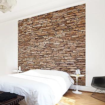 Stein tapete schlafzimmer  Fototapete | Steintapete Crete Stonewall - Vliestapete Quadrat ...