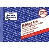 AVERY Zweckform 1742 Kwitantieblok voor kleine bedrijven (A6 dwars, 2x40 bladen, met doorslag, onvervalsbaar, zonder btw, voo