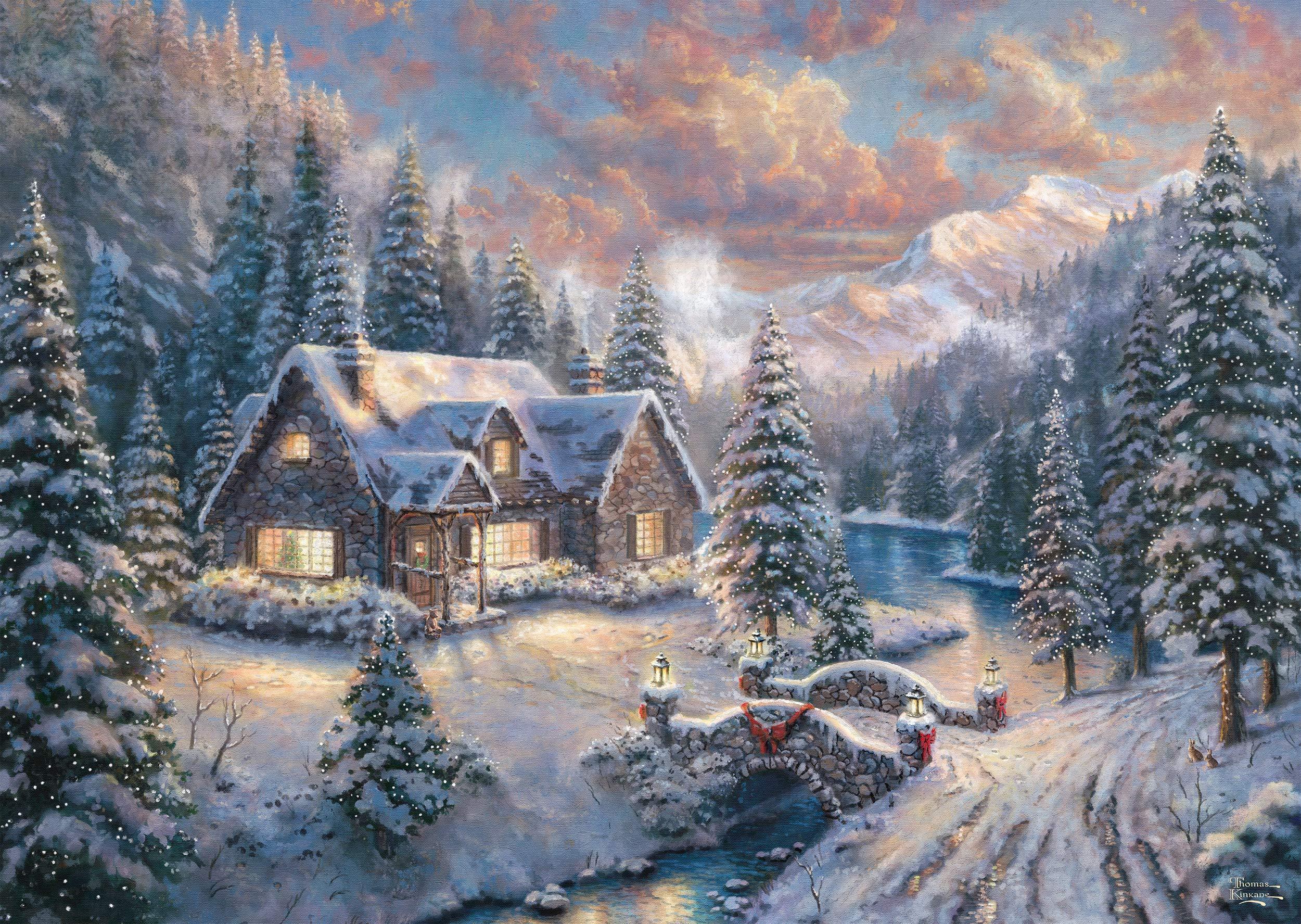 Schmidt-Spiele-Puzzle-59493-Thomas-Kinkade-Weihnachten-in-den-Bergen-Editio-1000-Teile-bunt