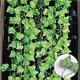 Ekoch Feuilles de Lierre Guirlande Plantes artificielles - 12 Pack 84 Ft Vert Feuillage Artificiel Garland Ivy Exterieur Lier