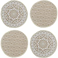 Saral Home Decorative Jute & Cotton Printed Table Mat (Pack of 4 pc, 38x38 cm), White