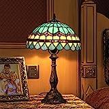 12 Pouces Vintage Pastoral Méditerranée Bleu Plume Style Vitrail Tiffany Style Lampe de Table Lampe de chambre Lampe de cheve