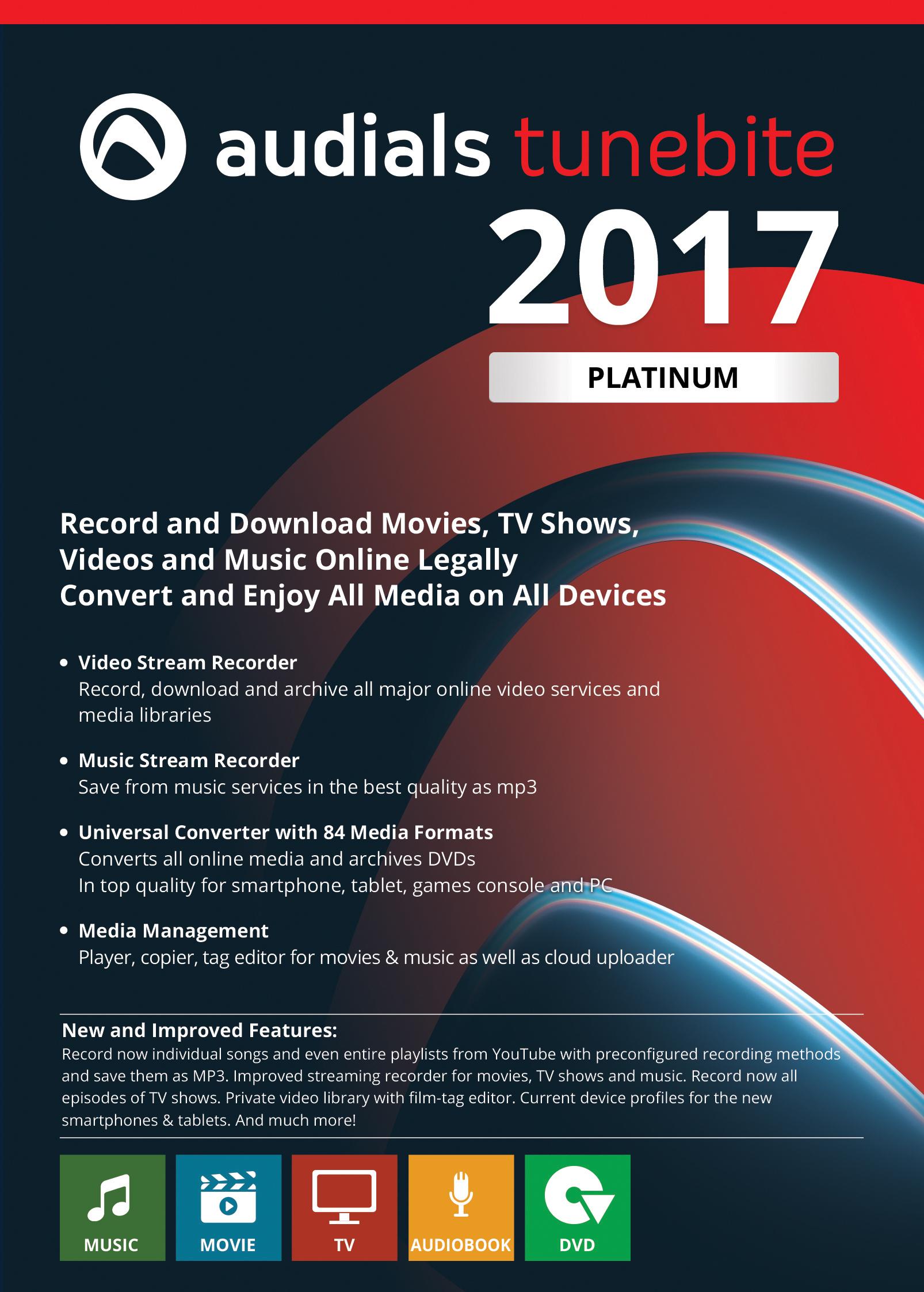 Audials Tunebite 2017 Platinum - Filme und Musik aus Bezahldiensten speichern [Download]