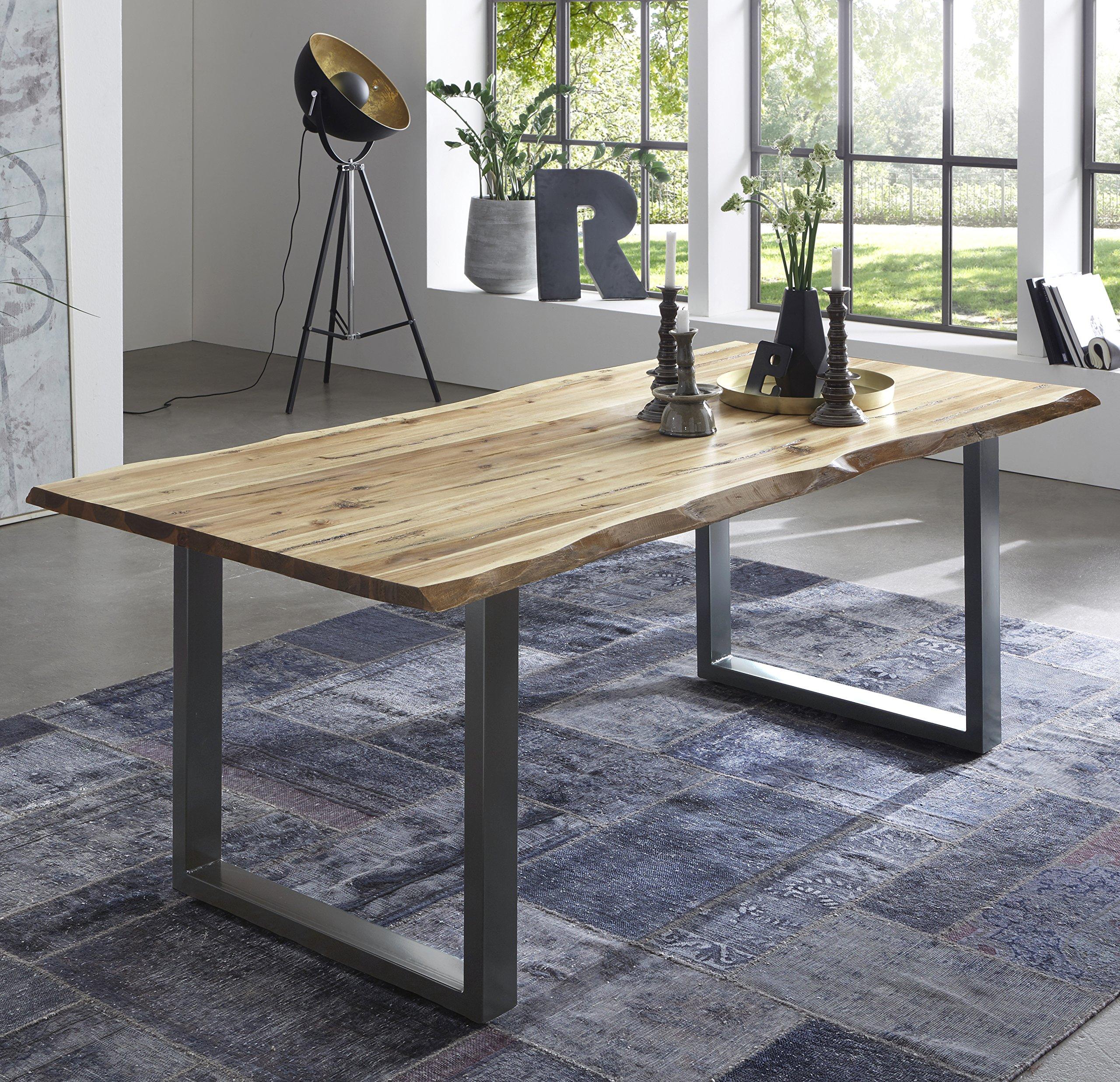 SAM Esszimmertisch Quintus, echte Baumkante, massiver Esstisch aus  Akazienholz, Metallbeine, Baumkantentisch - Möbelbilliger.de