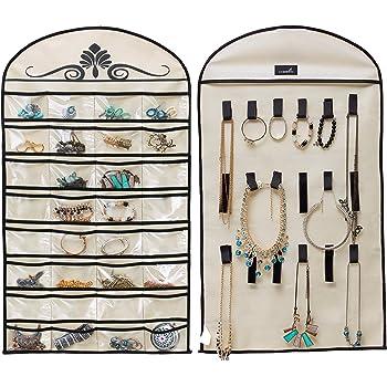 509267cd9 MISSLO Hanging Jewelry Organiser Holder 32 Pockets 18 Loops for Accessories  Storage (Beige)