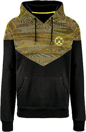 Borussia Dortmund Felpa con Cappuccio, Colore: Nero Giallo con Marsupio & BVB Logo, 60% Cotone e 40% Poliestere, S – 3 XL (Nero, Giallo)