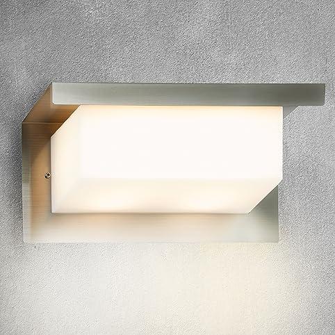 Briloner Leuchten LED Außenleuchte, Integriertes LED Licht, Wasserdichte  Lampe Außenbereich / Garten, Wandleuchte Edelstahl Optik, IP44, Länge: 26  Cm: ...