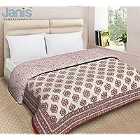 "Janis Rajasthani Traditional/Heritage Hand Block Print / 100% Cotton / 90"" x 100""/Duvet/Dohar (Wood/Brown-1.2)"