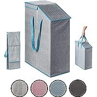 TOPP4u Panier à linge pliable avec couvercle - Bleu et beige - Volume : 52 l - 20 x 45 x 60 cm