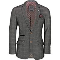 Xposed Mens Classic Tweed Check Blazer Retro Smart Tailored Fit Suit Jacket in Brown, Blue