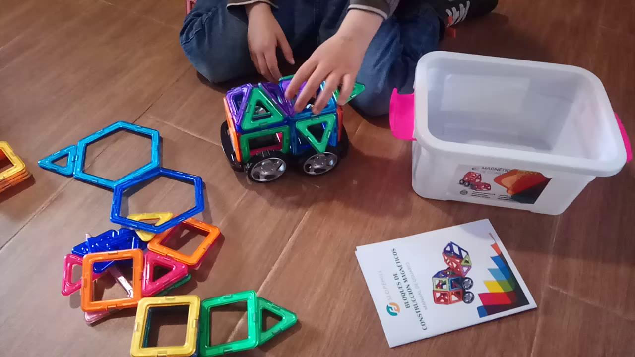 Bloques de Construcción Magnéticos ,Slopehill Juego de Bloques 54 Piezas Magnéticas Juguetes Creativos y Educativos para Niños Más de 3 Años Aprender ...