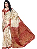 MIMOSA Women's Kanchipuram Silk Saree With Blouse Piece (65-HLFWHITEMARUN_Off White)