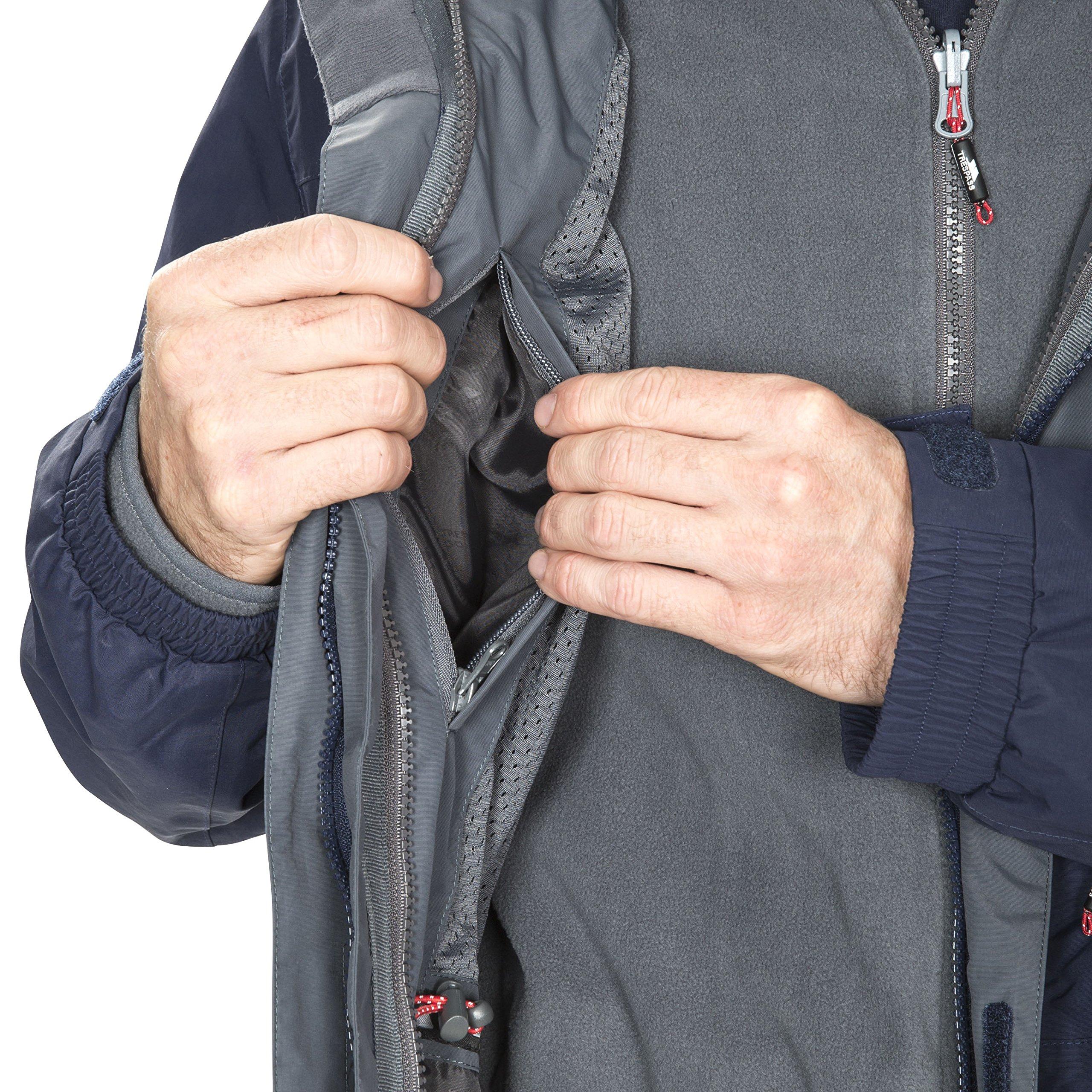 Funktionsjacke herausnehmbare Innenjacke aus Fleece f/ür Herren, Wetterjacke mit Kapuze Trespass Edgewater II Wasserdichte 3-in-1 Regenjacke