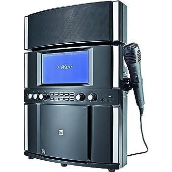 Dual DK 200 Stereo Karaoke System (Farbdisplay zur Liedtextanzeige, Zwei Mikrofoneingänge, USB-Anschluss, AUX-IN, Halterung für Tablets) schwarz