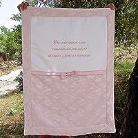 Copertina per neonata da personalizzare - Coperta nascita bimba rosa in pizzo, con ricami personalizzabili