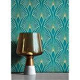 NEWROOM behang blauw vliesbehang pauwenveren - patroonbehang modern goud petrol bladeren ornamenten retro grafisch 50er stijl