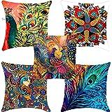 Swasiya Satin Digital Printed Sofa Cushion Cover Pack of 5 (40x40 cm or 16x16 Inch)- Multi Color, TC-175, More, A-9