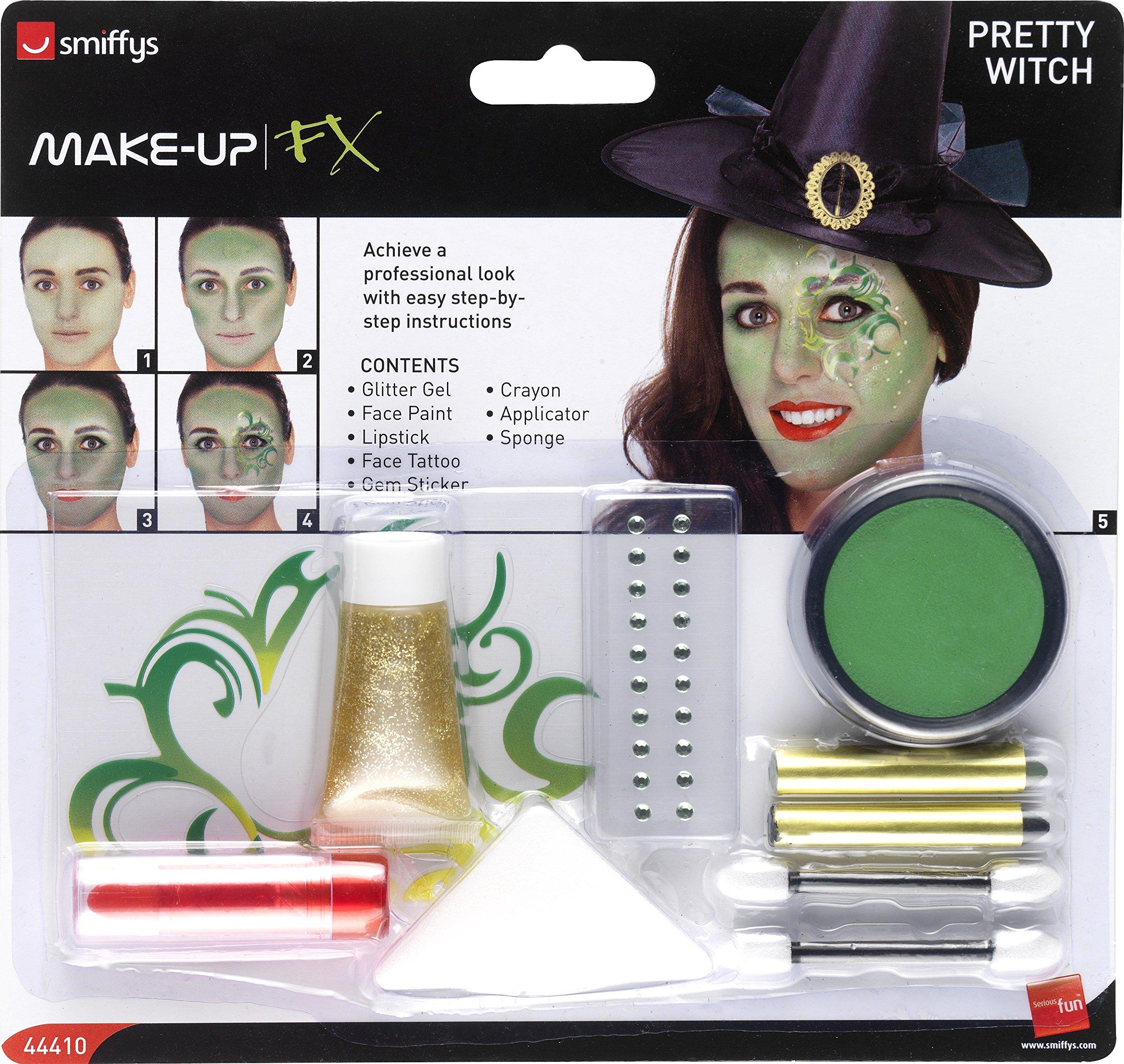 Halloween! Smiffys Hübsche Hexe Make-Up Set, Aqua, Tattoo, Schmuckstein Aufklebern, Lippenstift, Glittergel…