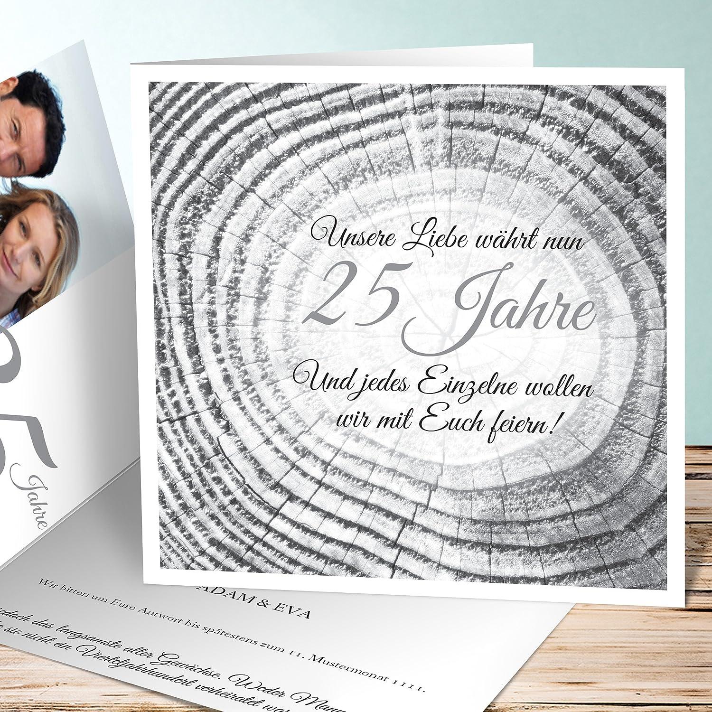 Einladungskarten Silberhochzeit Lustig, Baumringe 5 Karten, Quadratische  Klappkarte 145x145 Inkl. Weißer Umschläge, Weiß: Amazon.de: Küche U0026 Haushalt