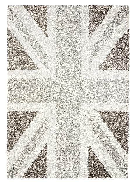 Benuta Shaggy Hochflor Teppich Graphic Union Jack Grau 120X170 Cm