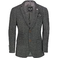 Xposed Men's Classic Grey Tweed Herringbone Blazer Retro Smart Casual Tailored Fit Jacket
