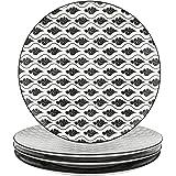 vancasso, série Haruka, 4pcs Assiettes Plates 27cm Porcelaine Rond Style Japonais Mode Service de Table Vaisselles