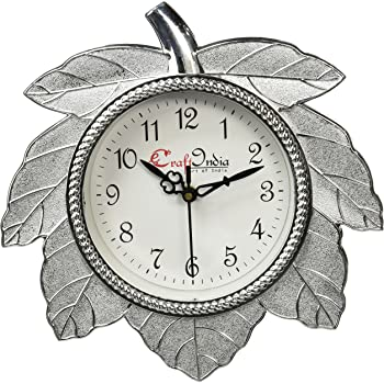 eCraftIndia Retro Leaf Shape Plastic and Glass Wall Clock (27.5 cm x 2.5 cm x 27.5 cm, Silver)