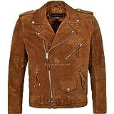 New Brando Fringe TAN Suede Men's Motorcycle Biker Real Rock Leather Jacket