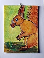 Das Eichhörnchen-Handbemalt auf Leinwandpapier, Maße: cm 13x18x0,3 cm, fertig zur Wandmontage Made in Italy, Toskana Lucca Erstellt von Davide Pacini.