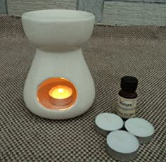 Pure Source India Ceramic Aroma Burner with 10 ML Lemon Grass Aroma Oil and 4 Tea Light Candle