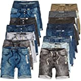 Sublevel Herren Sweat Shorts Kurze Hose Jeans Bermuda Denim Sweatpants Cargo Jogging Jeans Vintage Cargohose Used Look W29 - W42