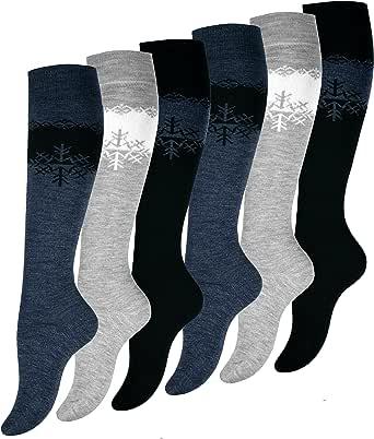 3 o 6 paia di calze termiche lunghe sino al ginocchio, in lana, da donna Calze di alta qualità.