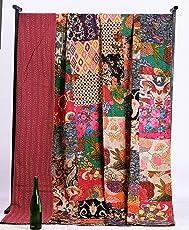 Handicraft-Palace Cotton Multi Patchwork Gudri Kantha AC Double Blanket, King Size (Multicolour, CKQ-272)