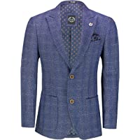 Xposed Men's Classic Tweed Check Suit Jacket Smart 1920s MOD Retro Tailored Fit Blazer