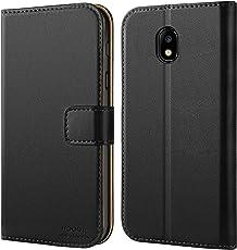 HOOMIL Handyhülle für Samsung Galaxy J7 2017 Hülle, Premium Leder Flip Schutzhülle für Samsung Galaxy J7 (2017) Tasche, Schwarz