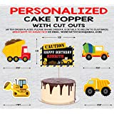 WoW Party Studio Personalized Construction Vehicles Theme Party Happy Birthday Decorations Cake Topper with Birthday Boy/Girl