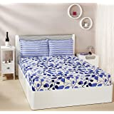Amazon Brand - Solimo Leafy Spring 144 TC 100% Cotton Double Bedsheet with 2 Pillow Covers, Blue