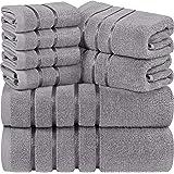 Utopia Towels - Juego de Toallas Grises frías 8 - Toallas de Rayas de Viscosa - 600 gsm algodón Ring Spun - Toallas de Alta a