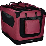 AmazonBasics Premium Folding Portable Soft Pet Dog Crate Carrier Kennel - 26 x 18 x 18 Inches, Red