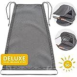Zamboo Universal Sonnensegel DELUXE für Kinderwagen Babywanne | reißfester Sonnenschutz mit UV Schutz Beschichtung 50+ und Rollo-Funktion - Melange Grau