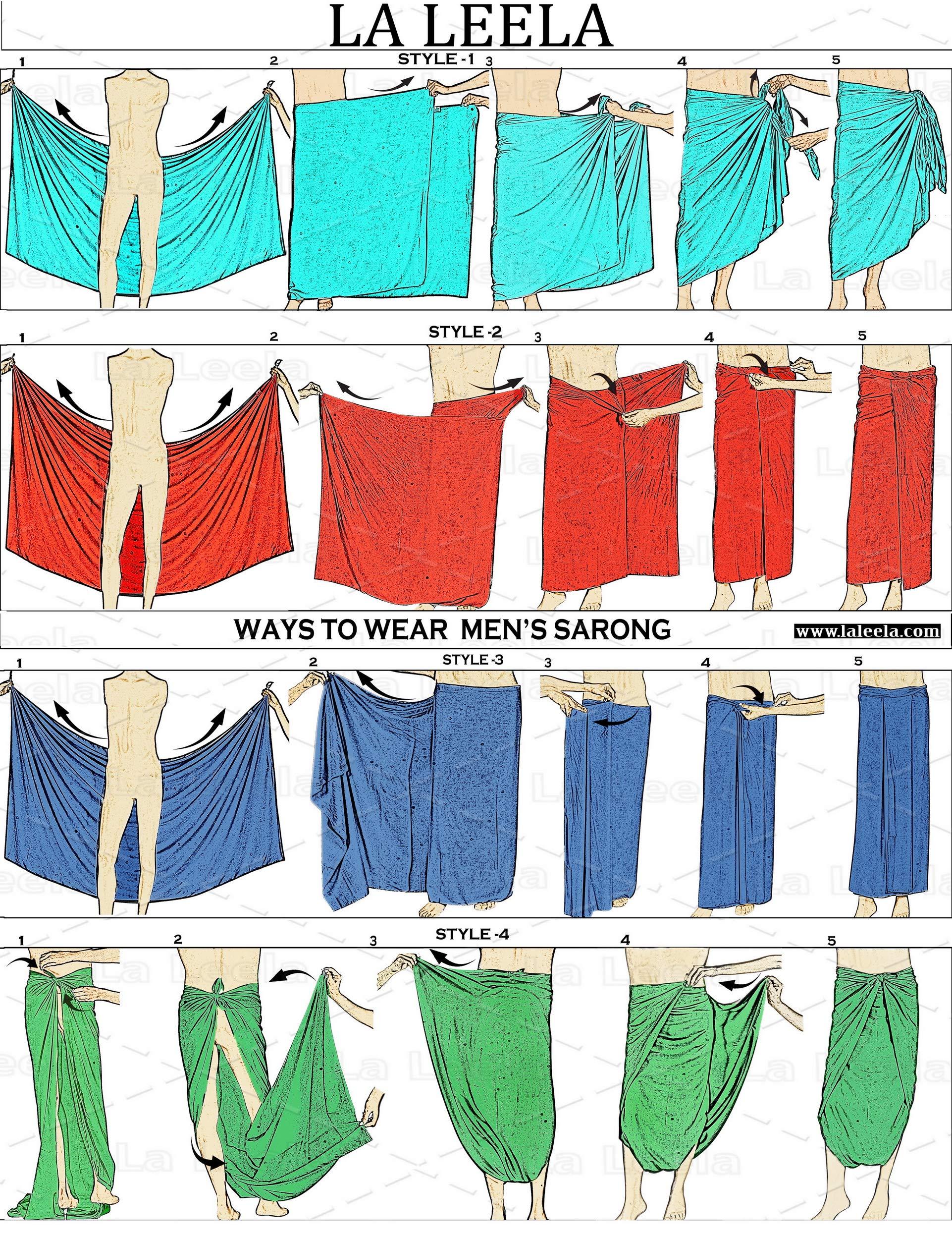 LA LEELA Beachwear Swimwear Sarong Coprire Legame Pareo ordito 5 spesavip
