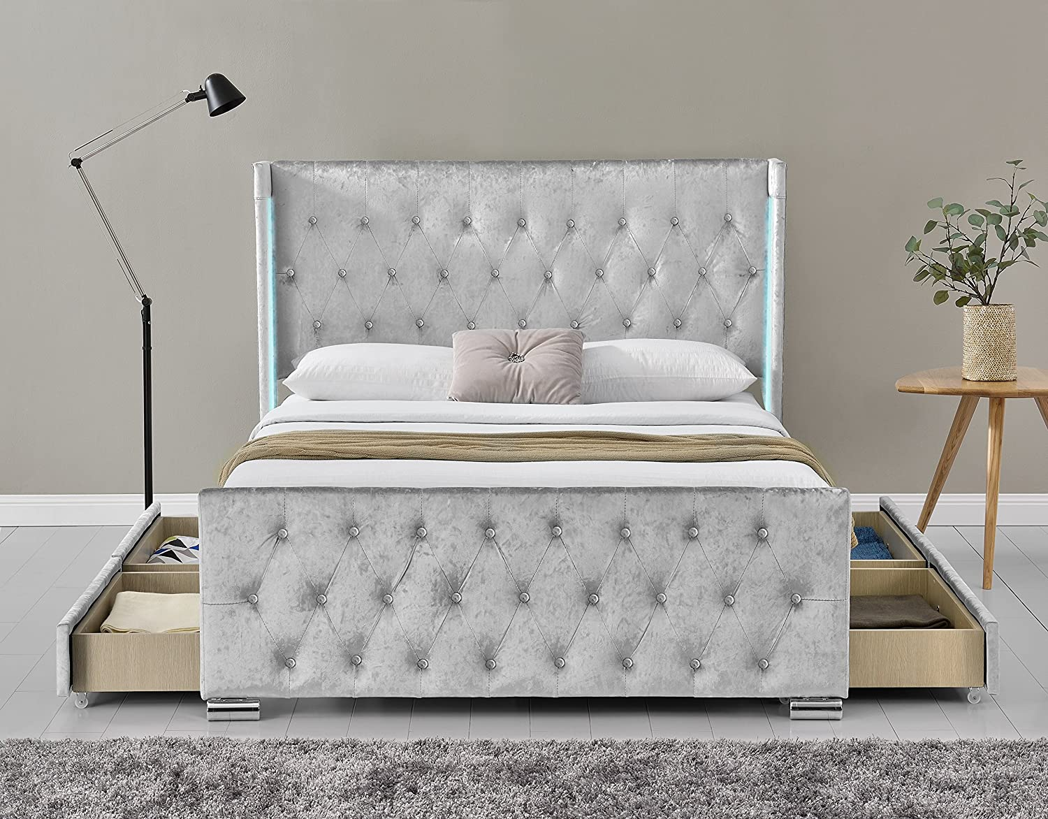 New Fabric Upholstered 4 Drawer Wing Back Led Storage Bed