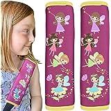 2x protector de cinturón de seguridad HECKBO® con dibujos de hadas mágicas: cinturón de seguridad, almohadilla para el hombro